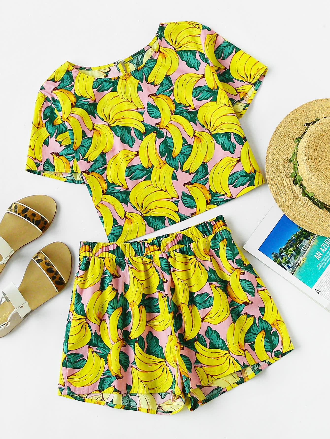 Фото Allover Banana Print Buttoned Keyhole Top And Shorts Co-Ord. Купить с доставкой