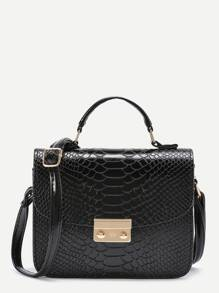 Metal Detail Snakeskin Print PU Shoulder Bag