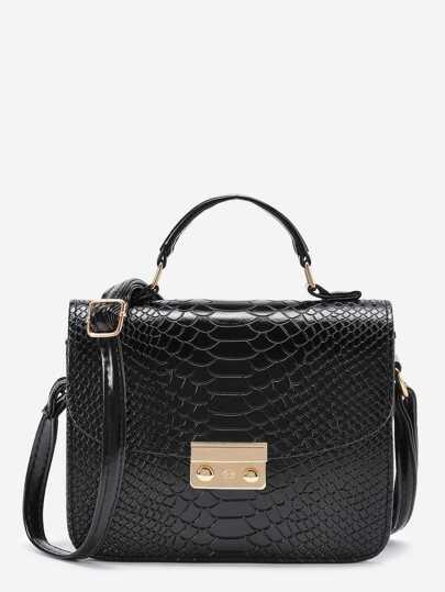Metal Detail Snakeskin Print PU Shoulder Bag