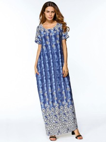 Abstract Print Full Length Dress