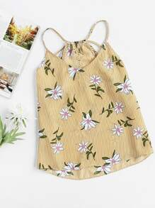 Keyhole Tie Back Floral Striped Cami Top