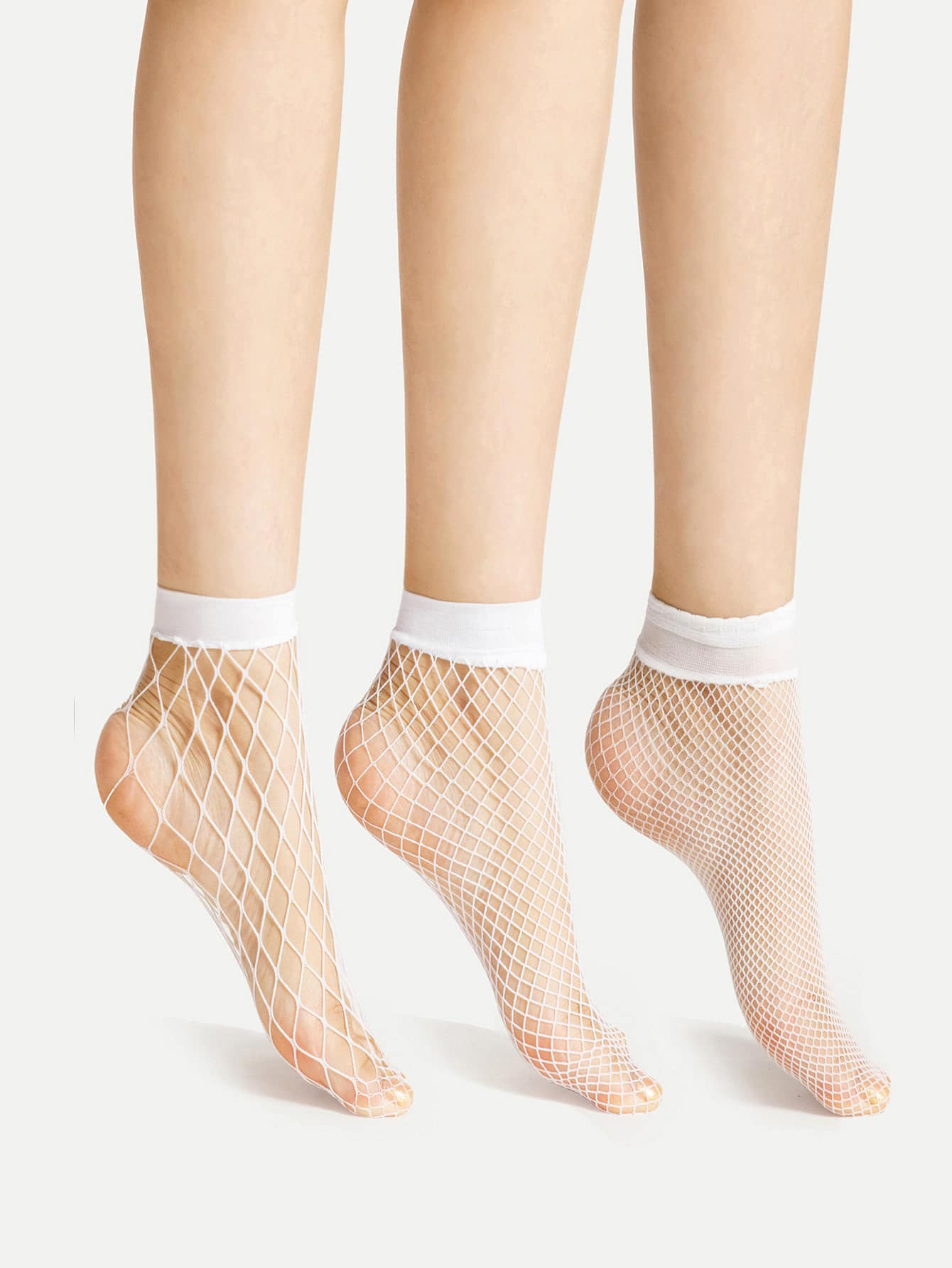 Fishnet Ankle Socks 3 Pairs gold plated banana plug jack connector set golden 3 5mm 10 pairs
