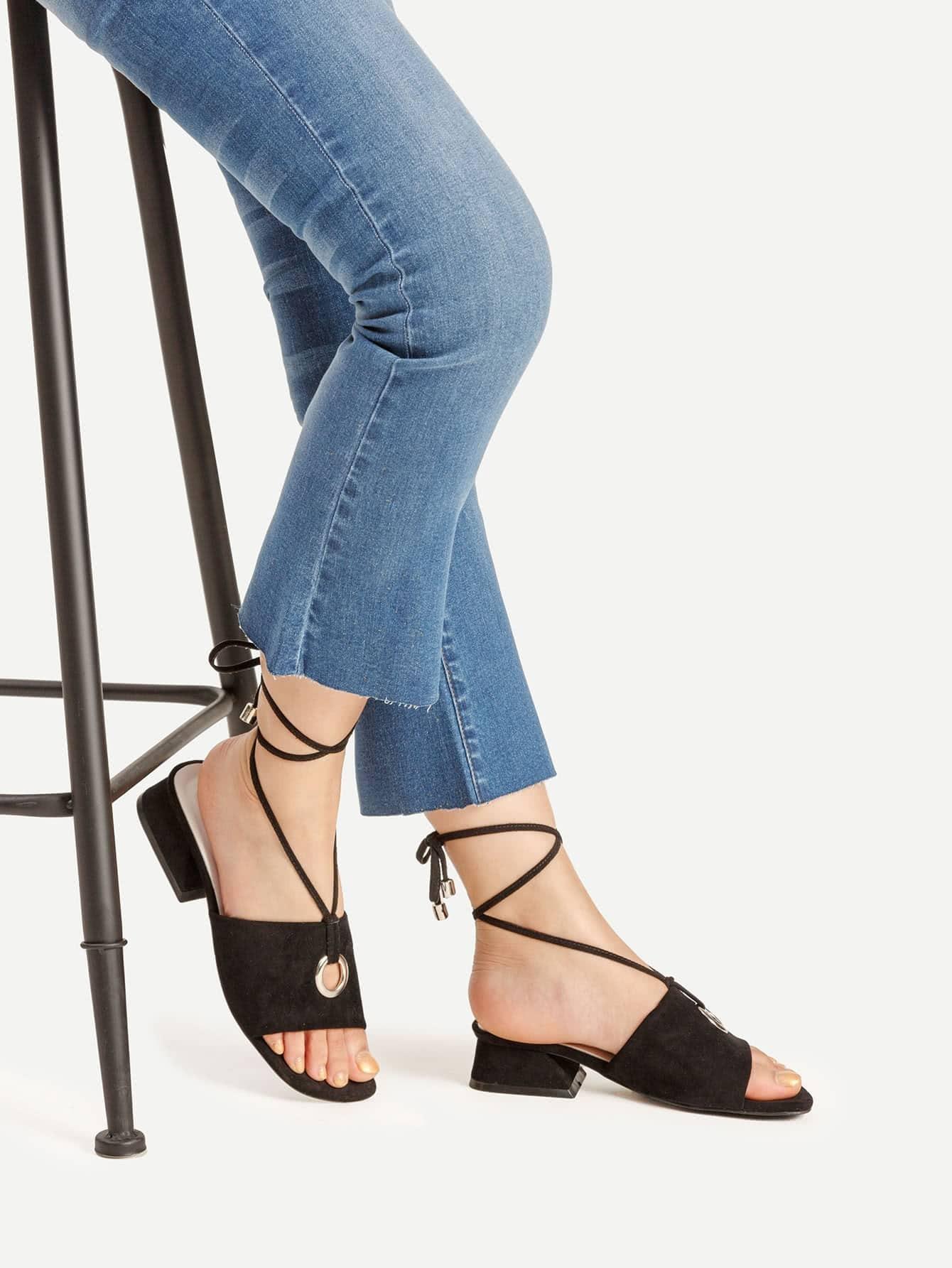 Фото Grommet Detail Lace Up Block Heeled Sandals. Купить с доставкой