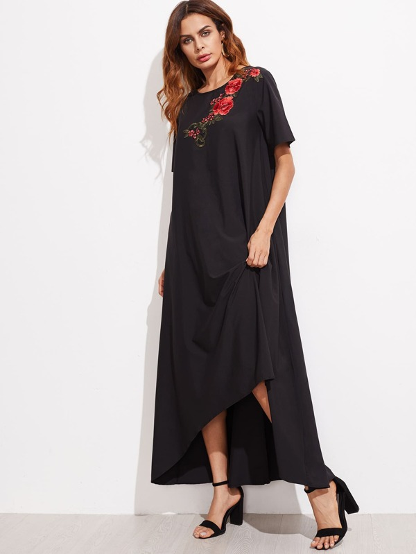 sc 1 st  SheIn.com & Embroidered Flower Applique Hi-Lo Tent Dress -SheIn(Sheinside)