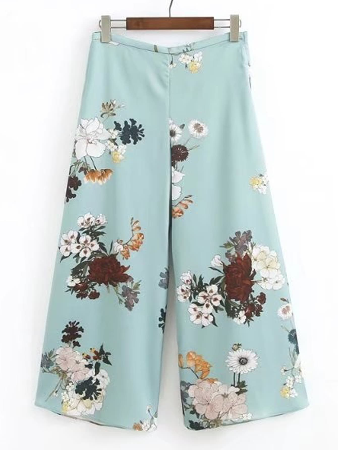 Floral Print Zipper Side Wide Leg Pants bow tie side wide leg pants