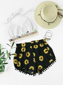 Shorts con estampado de girasol con bolitas