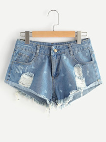 Shorts lacéré en denim