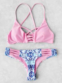 Contrast Printed Crisscross Bikini Set