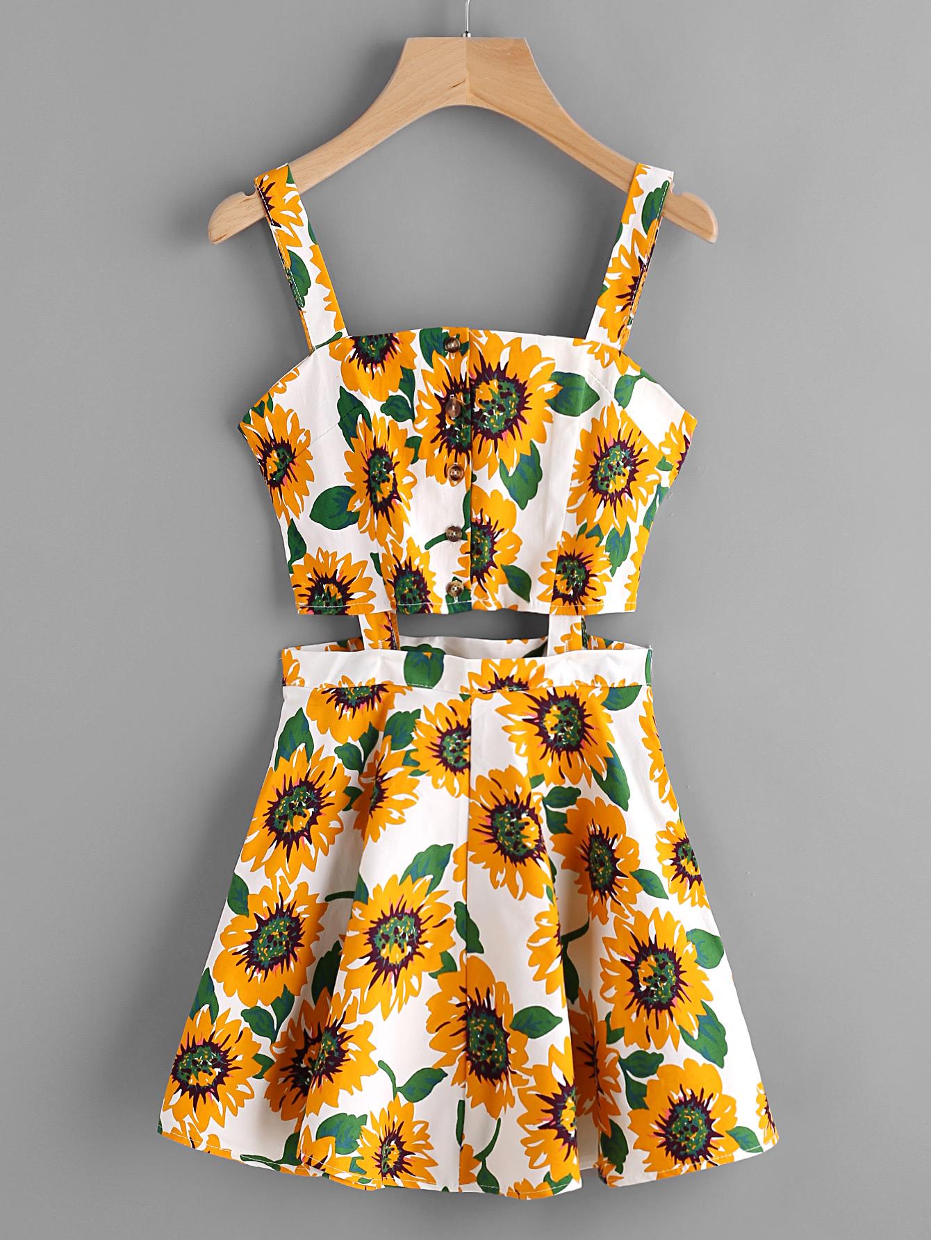 Фото Sunflower Print Random Single Breasted Cut Out Dress. Купить с доставкой
