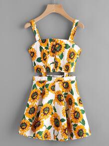Sunflower Print Random Single Breasted Cut Out Dress