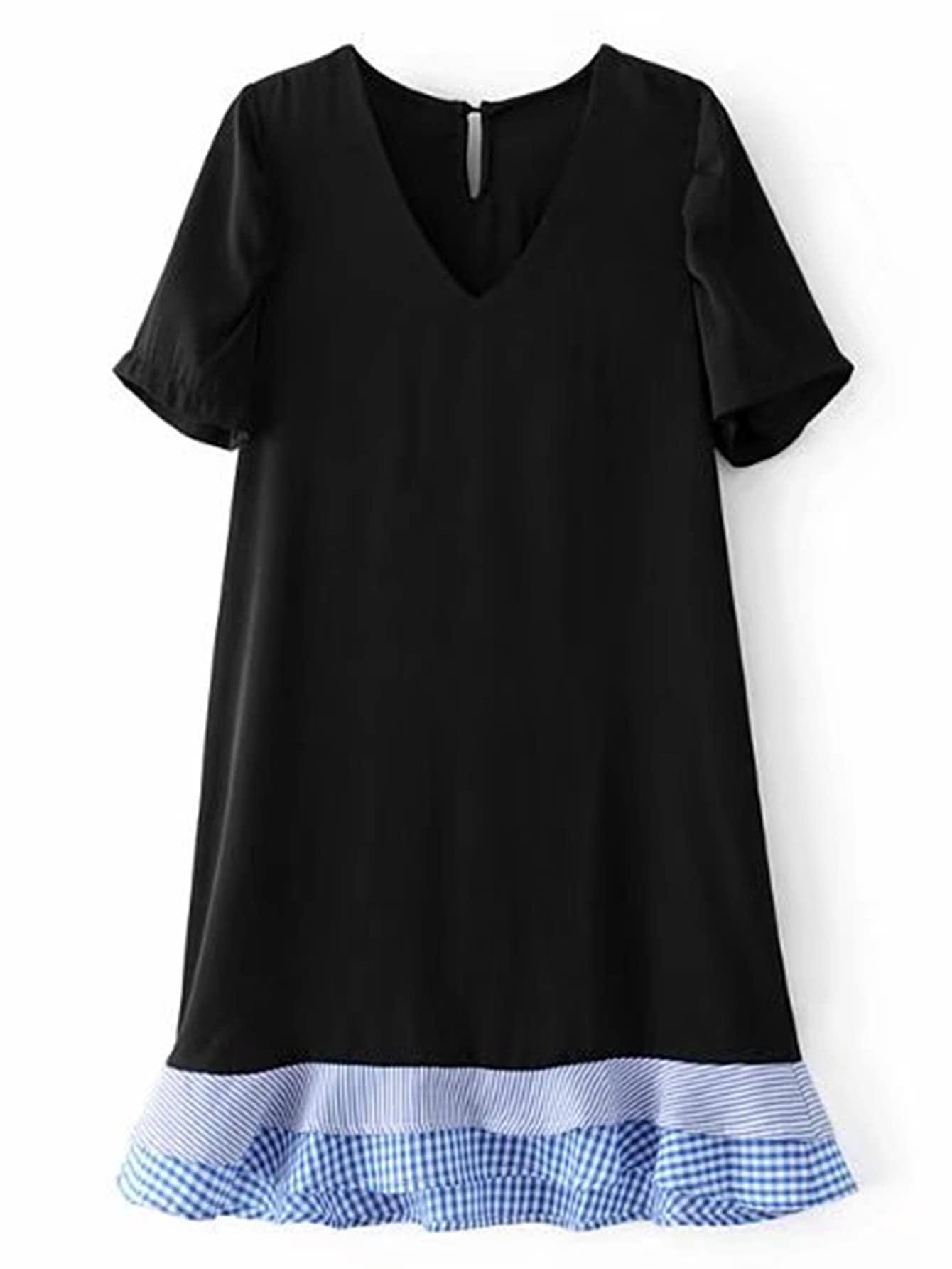 Фото Contrast Layered Ruffle Hem Dress. Купить с доставкой