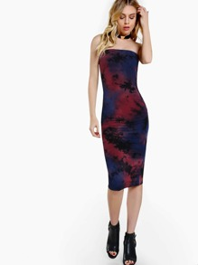 Tie Dye Strapless Bodycon Dress NAVY WINE