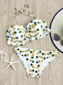Set di bikini con stampa di ananas
