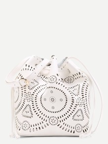 Laser Cut Hollow PU Shoulder Bag