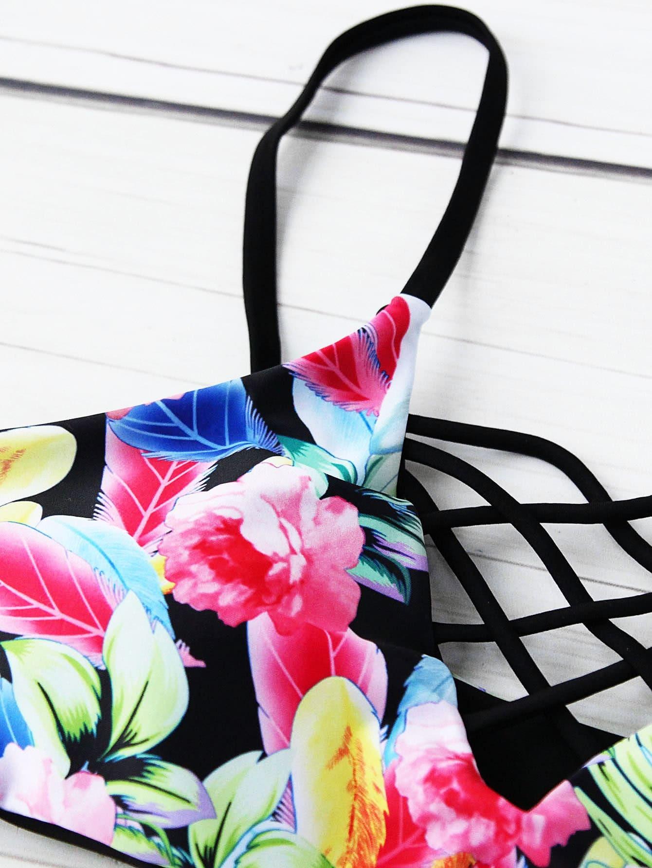 Calico Print Criss Cross Bikini Set