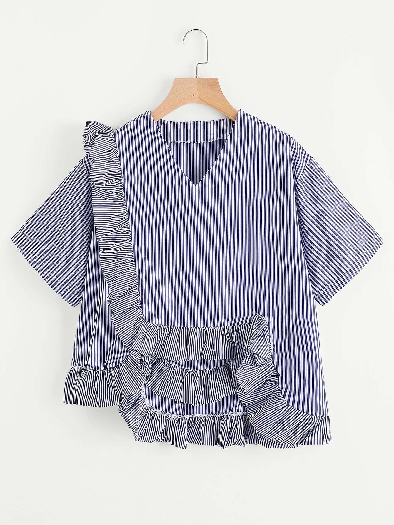 Vertical Striped Top With Exaggerated Frill blouse170510102