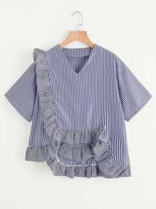 Vertical Striped Top With Exaggerated Frill