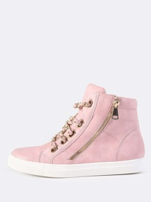 Chain Link High Top Sneakers DUSTY PINK