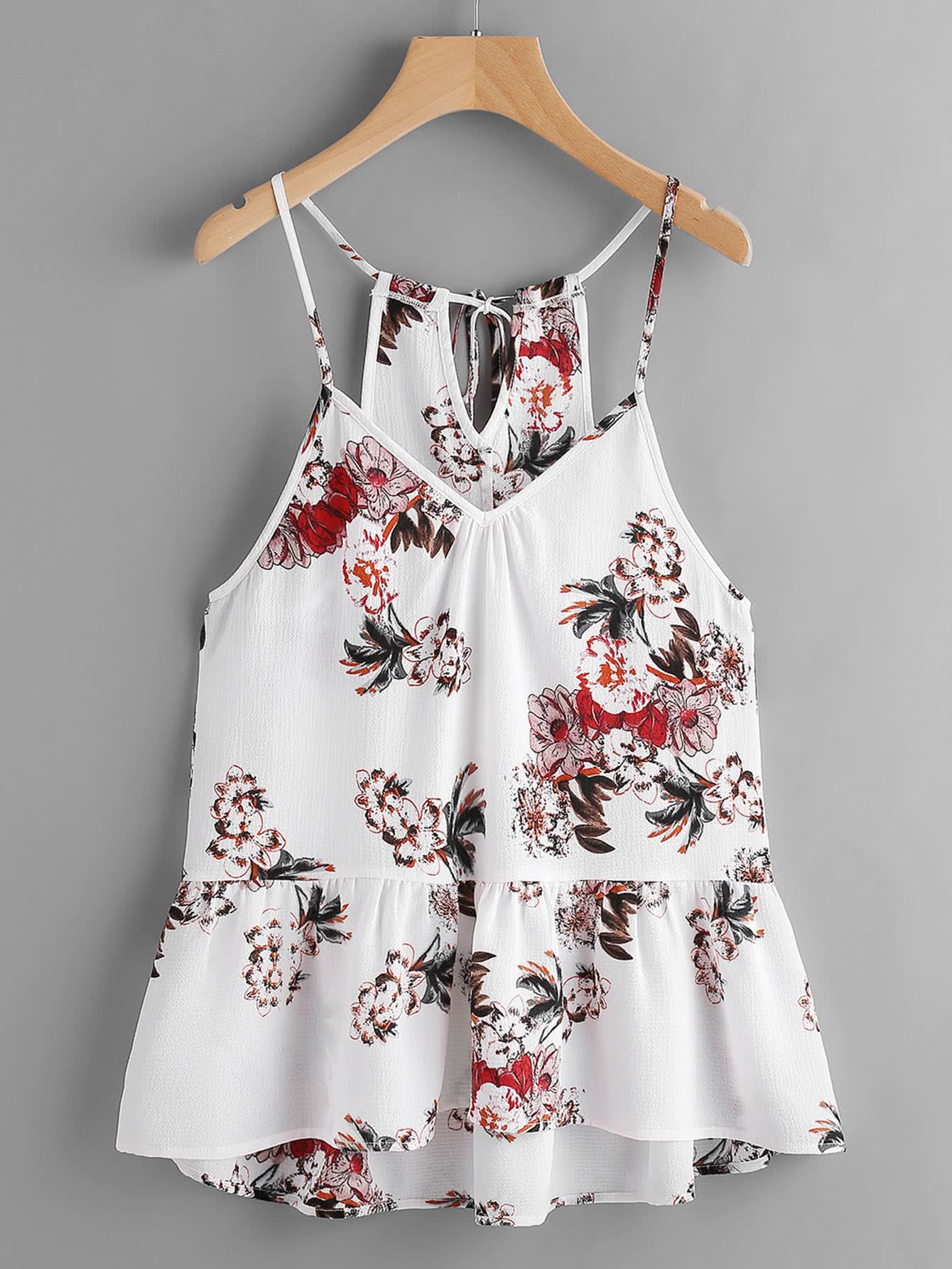 Flower Print Keyhole Self Tie Back Peplum Cami Top criss cross back self tie slub cami top