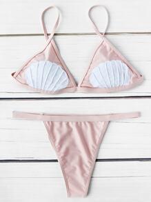 Sets de bikini triángulo contraste con estampado de concha