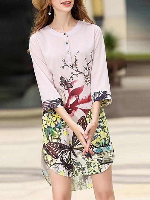 Фото Butterfly Print High Low Dress. Купить с доставкой