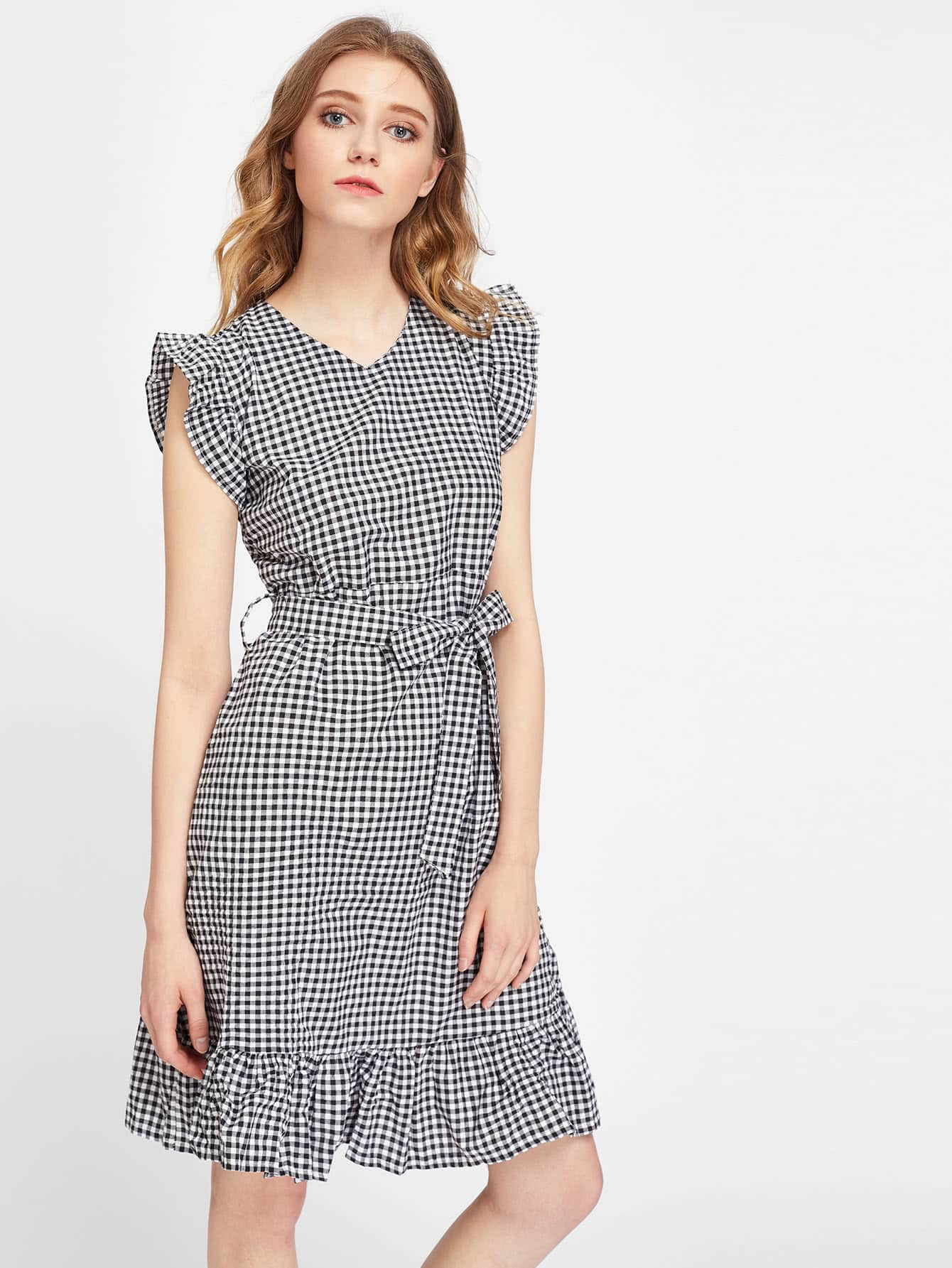 Gingham Frill Trim Self Tie Dress Shein Sheinside