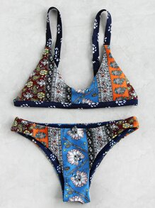 Set di bikini triangoli con stampa mista