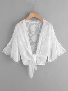 Kimono a rete trasparente con maniche a campana