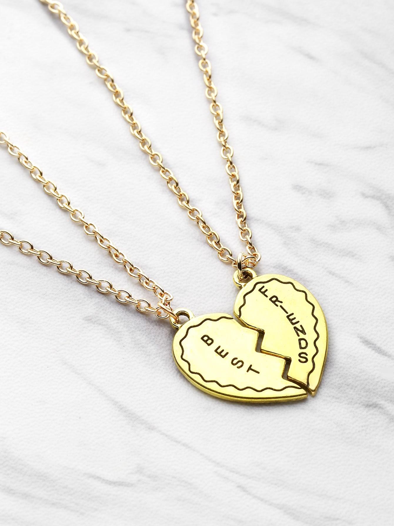 design friendship pendant necklace 2pcs shein