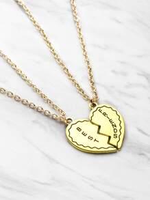 Heart Design Friendship Pendant Necklace 2pcs