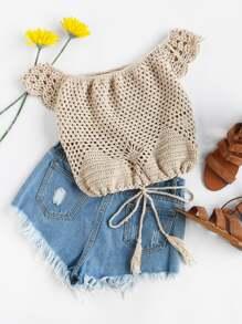 Off Shoulder Tasseled Drawstring Hem Hollow Out Crochet Top