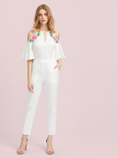 Keyhole Front Flower Patched Trumpet Sleeve Tailored Jumpsuit