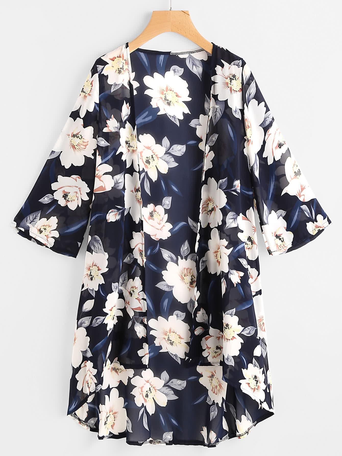 Image of Allover Floral Print Kimono