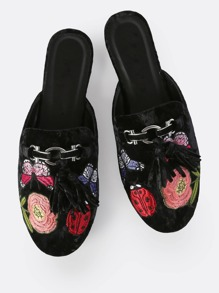 Embroidered Tassel Backless Loafers