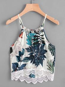 Tropical Print Lace Hem Tie Back Cami Top