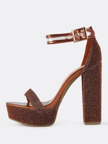 Ankle Strap Sparkle Platform Heels COPPE