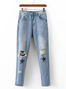 Knee Ripped Beaded Embellished Jeans