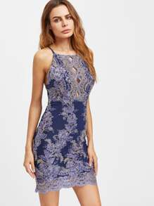 Crisscross Back Embroidered Mesh Overlay Peekaboo Dress