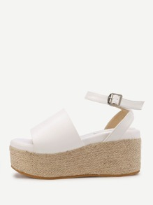 Ankle Strap Woven Wedge Sandals