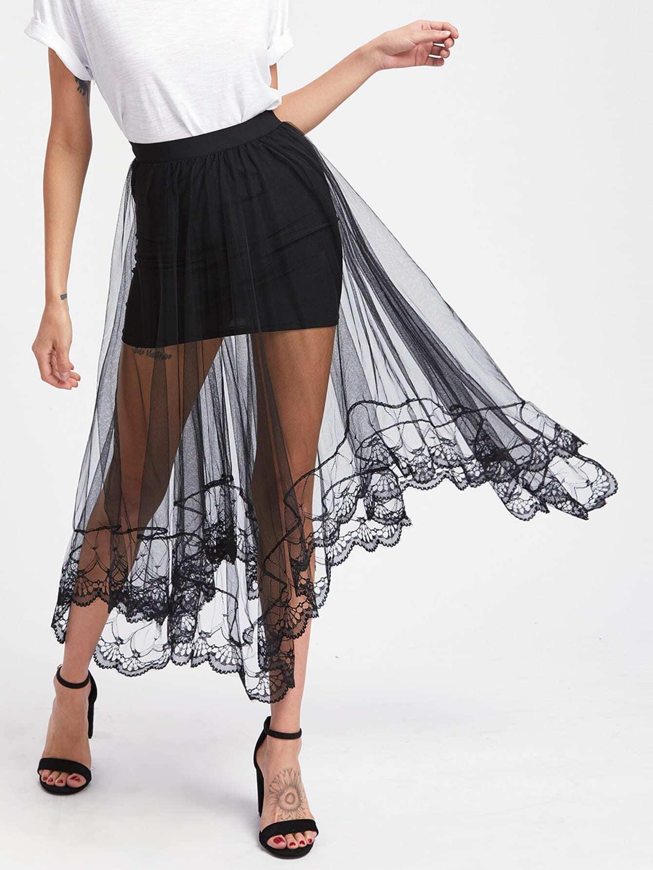 Hanky Hem Sheer Mesh Overlay Skirt