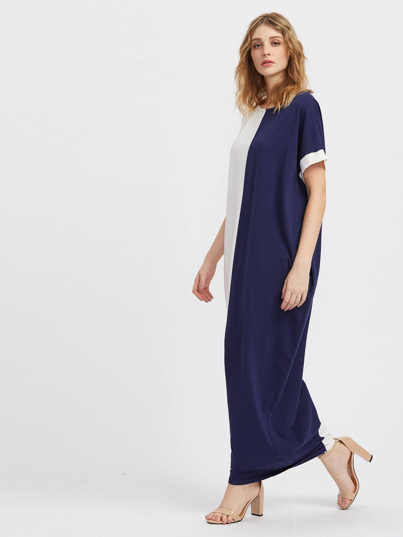 Two Tone Side Pocket Detail Cocoon Dress