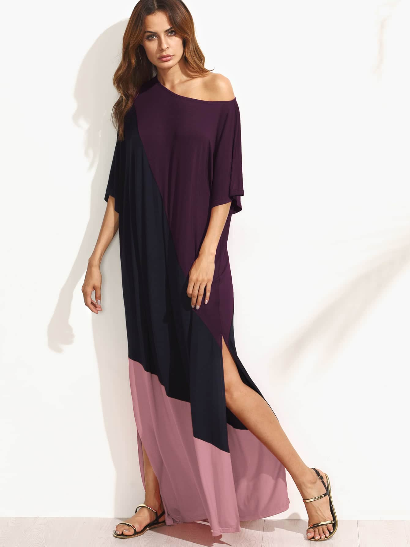 Asymmetric Shoulder Side Slit Cut And Sew Tee Dress cut and sew chiffon tee