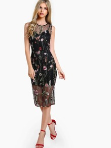 Sheer Overlay Floral Embroidered Dress BLACK