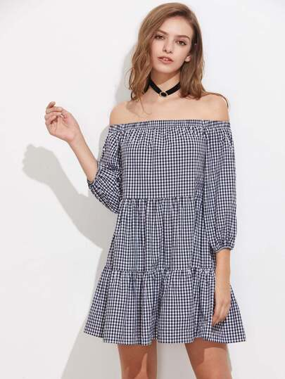 Lantern Sleeve Tiered Gingham Bardot Dress