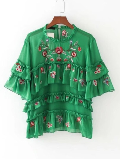 Bell Sleeve Tiered Embroidered Top