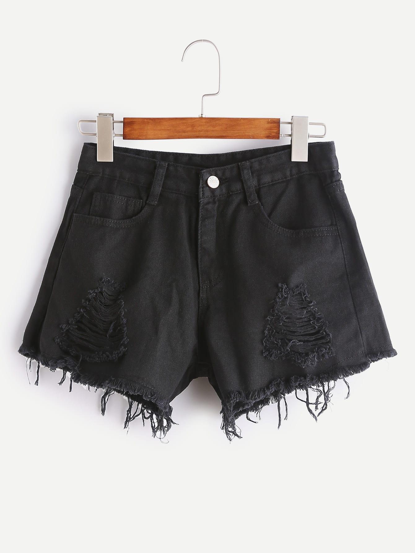 Фото Distressed Frayed Hem Denim Shorts. Купить с доставкой