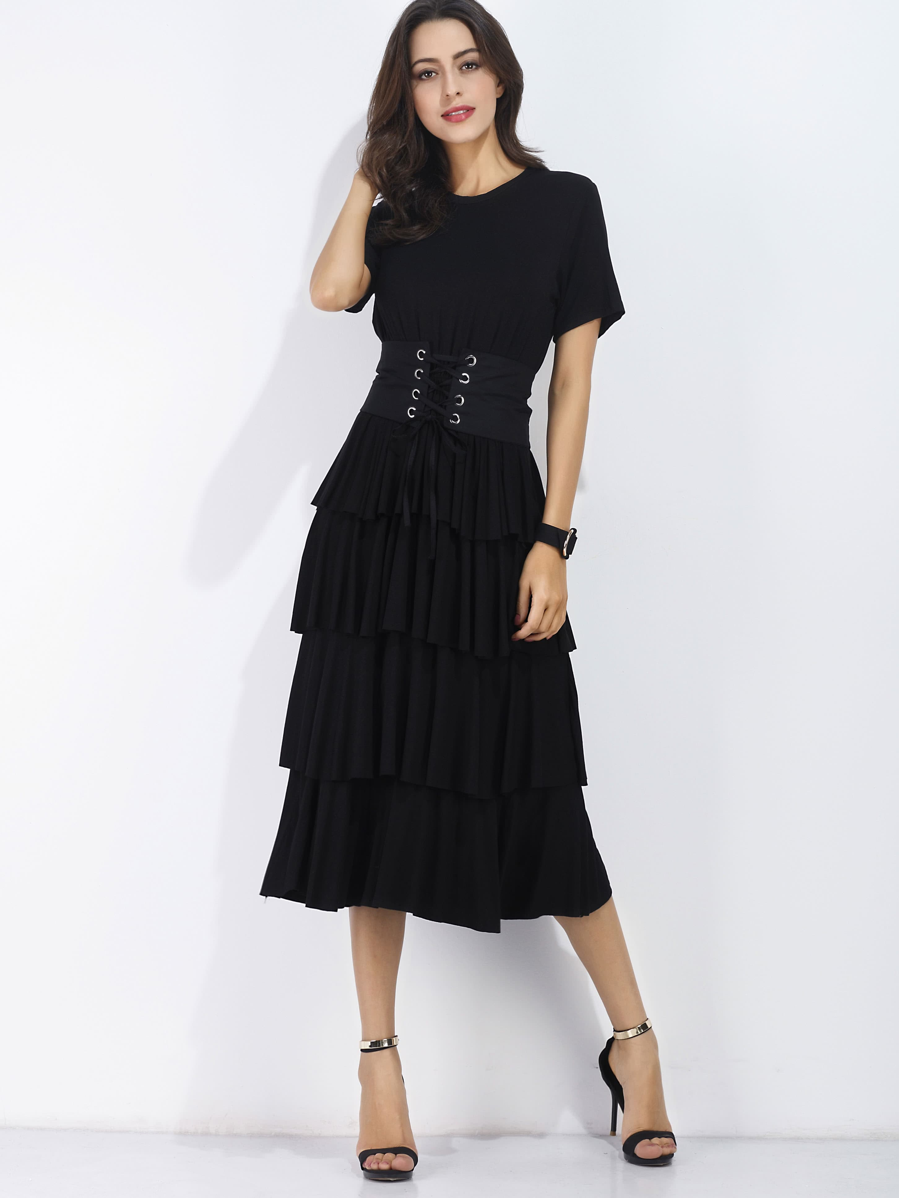 Flounce Tiered Dress With Obi