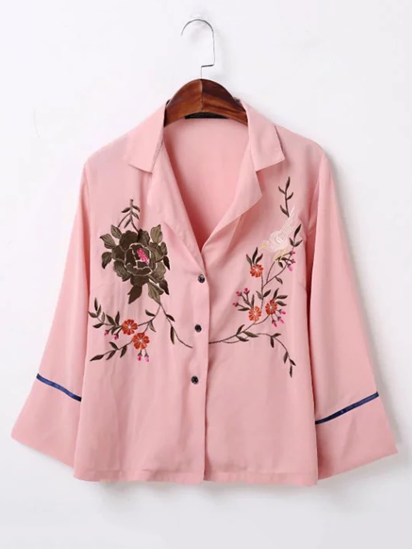 Фото Bell Sleeve Flower Embroidered Blouse. Купить с доставкой