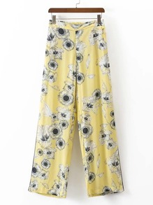 Elastic Waist Floral Print Wide Leg Pants