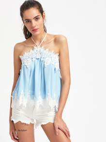Contrast Lace Halter Top